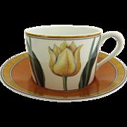 Vintage Laure Japy Tulips Limoges Paris France Cups Saucers