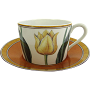 Vintage LAURE JAPY Tulips Limoges  Paris France Cup Saucer