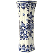 Vintage Hand Painted Hexagon Blue and White Vase