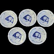 Set of Five Vintage Chinese koi Carp Catfish Bleu and White Soup Bowls, Blue Fish.