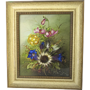 Mid-Century German Hand-Painted Plaque Porcelain Lilies Floral Signed & Framed