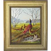 Mid-Century German Hand-Painted Plaque Porcelain Pheasants Landscape Signed & Framed