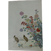 Early 19th Century Chinese Plaque Birds Chrysanthemum Detailed