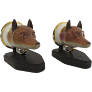Pair of Meissen Fox Head 19th Century Stirrup Cups on Custom Stands