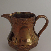 Small Copper Luster Cream Pitcher Raised Pattern c1850