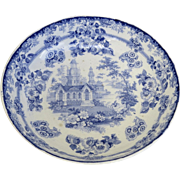 "Mid 19th Century Large Staffordshire Transferware Blue and White Bowl ""Priory"""