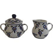 Vintage Un-Used Boleslawiec Polish Poland Pottery Hand Made Creamer & Sugar Flower Lattice