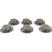 6 x Vintage Un-Used Boleslawiec Polish Poland Pottery Hand Made Cups and Saucers Flower Lattice