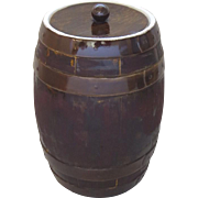 Large 19th Century Pottery Ceramic Pickle Brining Barrel Faux Bois