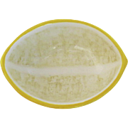 Small Vintage Faience Glazed Dish in the Shape of Half a Lemon Lemonade
