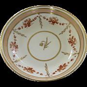 English Porcelain Saucer Dish with Apricot and Gilt Border c 1810