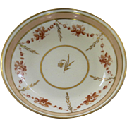 English Porcelain Saucer Dish with Apricot and Gilt Border c 1810