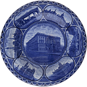 Rowland & Marsellus Rolled Edge Historic Plate Cobalt Blue and White Baltimore Indiana John Hopkins Hospital Druid Hill Washington Monument Mount Vernon
