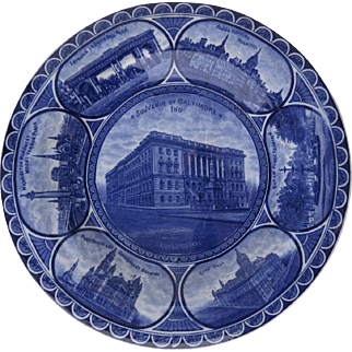 Rowland & Marsellus Rolled Edge Historic Plate Cobalt Blue and White Baltimore Indiana John Hopkins Hospital Druid Hill Washington Monument Mount Vernon