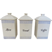 Vintage Set of Three Ceramic Pottery Canisters Rice Cereal Coffee Blue and White Greek Key Motif Country Store Kitchen