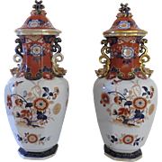 "Pair of Large English Ironstone Lidded Jars Urns Vases 24"" Tall by Mortlock c 1860 Dragons Foo Lions"