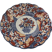 Late 19th Early 20th Century Imari Colors Japanese Scalloped Edge Plate Flowers in Urn