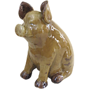 Large Vintage Sitting Pig Glazed Ceramic Pottery