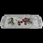 Vintage Gien France Oiseau Bleu Long Narrow Platter Sandwich Tray Strawberry Fruits