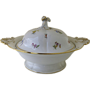 Late 19th Century Meissen Scattered Flowers Lidded Covered Vegetable Serving Dish Gilt