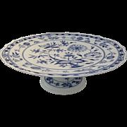 "Vintage Older Meissen Blue Onion Pattern Large Cake Plate Stand 14 1/2"" Diameter"