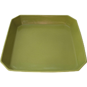 Vintage Mid Century Campo California Porcelain Serving Dish Square Canted Corners Chartreuse