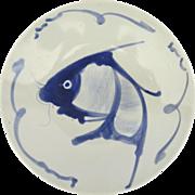 Vintage Chinese koi Carp Catfish Bleu and White Soup Bowl, Blue Fish