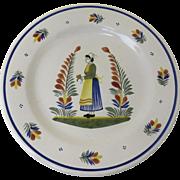 "Quimper France Pottery Vintage Signed Henriot 12"" Round Serving Tray Platter Chop Plate"