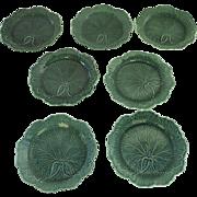 English Wedgwood Majolica Green Glazed Leaf Pattern 19thC Set of 7