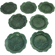 English Wedgwood Majolica Green Glazed Leaf Pattern 19thC Set of 7
