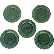Vintage Wedgwood Green-Glazed Majolica Leaf Plate 19thC Set of 5