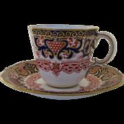 Vintage Royal Crown Derby English Imari Demitasse Cup and Saucer