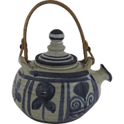 Vintage Blue White Pottery Tea Pot Yael Old Jaffa Hand Made Hand Painted Israel Folk Art Country