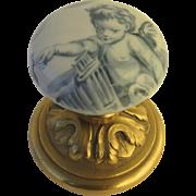C 1880 Signed Porcelain Doorknob with Ormolu Mount signed E. Froger Angle Putti Cherub