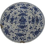 18th Century Blue and White Delft Faience Plate