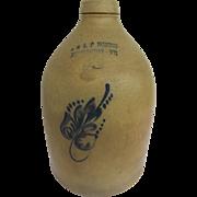 Jug E & L P Norton Stoneware 19th C 2 Gallon Floral Motif