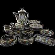 Thoune Swiss Majolica Pottery Earthenware Tea/Coffee Set Owl (15 Pieces)