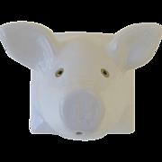 Vintage White Ceramic Wall Mount String Holder Pig