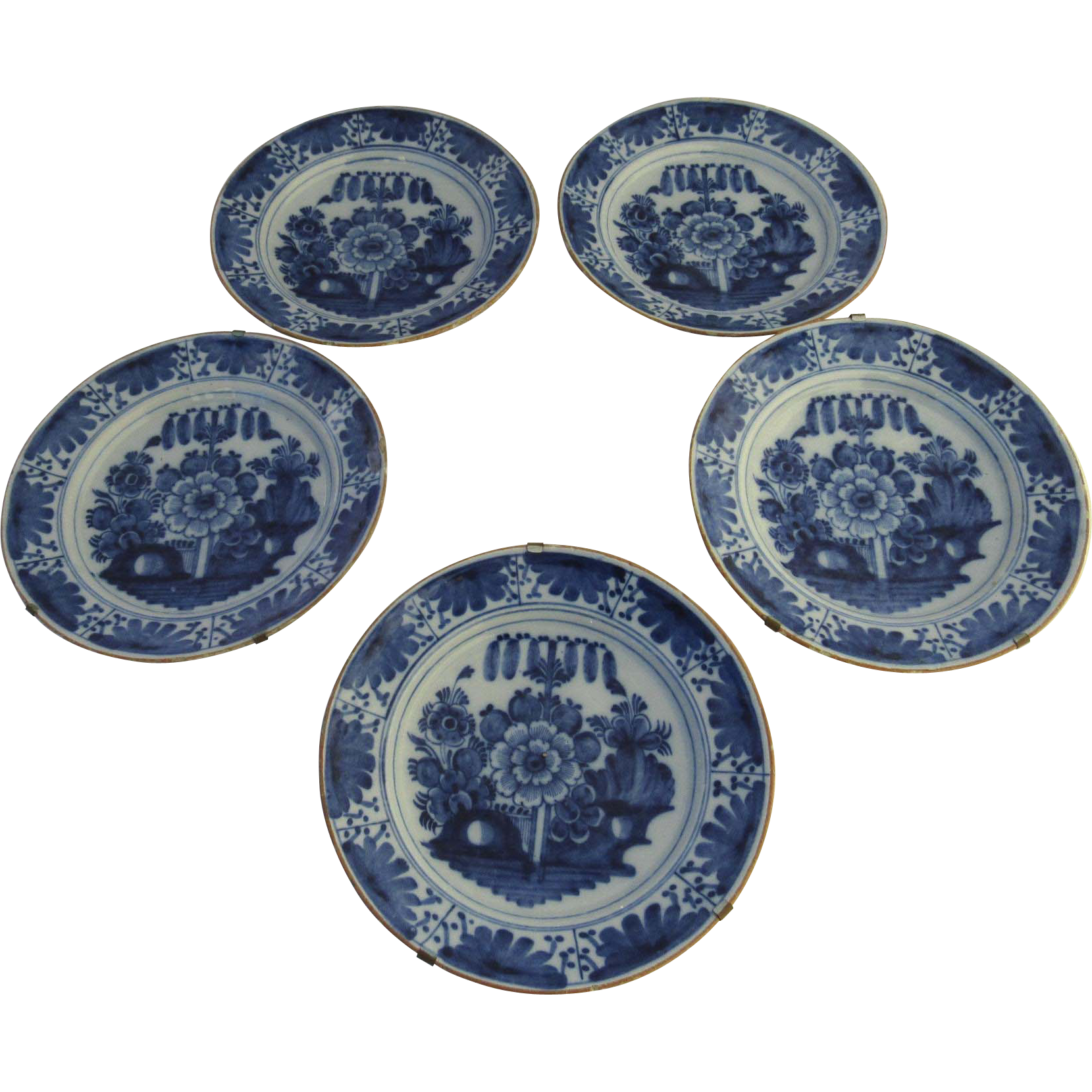 """Early 19th Century Delft Blue & White Plate 10"""""""