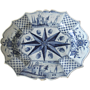 19th Century Delft Blue & White Faience Glazed Pottery Platter Dish Compass Star Pattern Strawberries