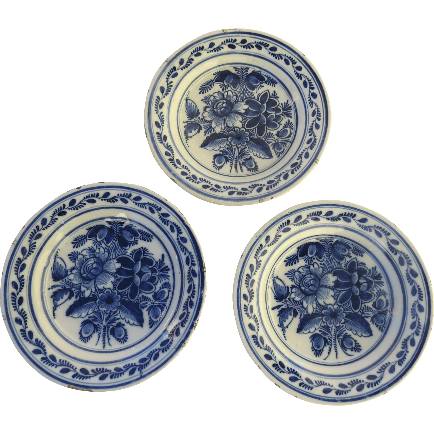 19th Century Blue & White Delft Faience Plates Pottery
