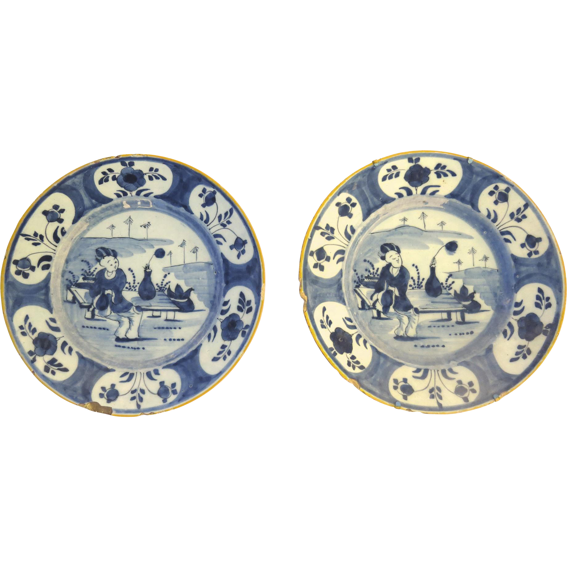 18th Century Blue & White Delft Plate Set of 2 Chinoiserie Pattern