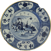 18th Century Delft Blue & White Faience Pottery Plate Chinoiserie Motif