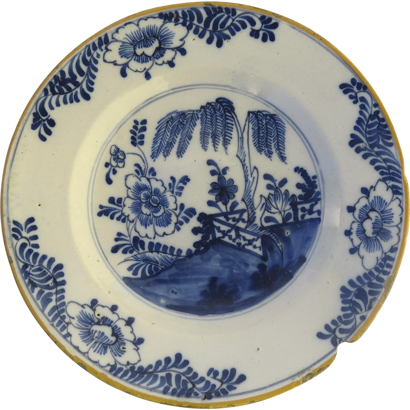 18th Century Blue & White Delft Plate Chinoiserie Motif