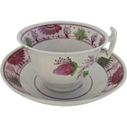 Pink Luster Cup and Saucer Delightful 19th Century