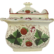 19th Century English Pottery Sugar Strawberry Staffordshire