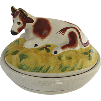 Vintage Staffordshire Style Cow Butter Dish Tub Cheese
