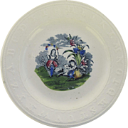 English 19th Century Children's Alphabet Plate Raised Alphabet