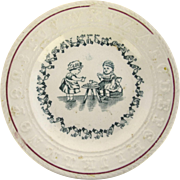 English 19th Century Child's Raised Alphabet & Sign Language Alphabet Plate