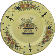 Charming Yellow Ground Basket Motif Henriot Quimper Plate Older Mark